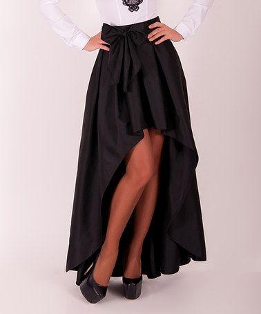 Look at this #zulilyfind! Black Bow Hi-Low Skirt #zulilyfinds