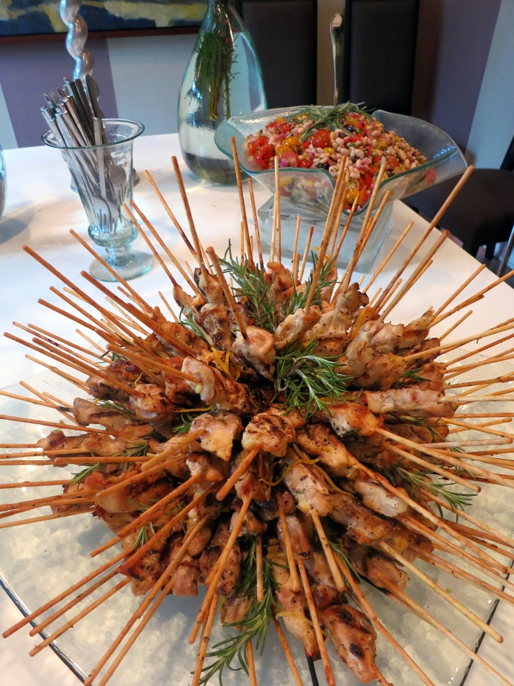 Lemon & Rosemary Grilled Chicken Skewers, served with lemon crème ...
