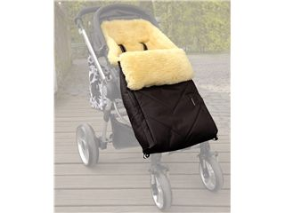 Kinderwagen-Fußsack Dublas von Kaiser Naturfellprodukte, Schwarz - Kinderwagen-Fußsack Dublas mit echtem Lammfell