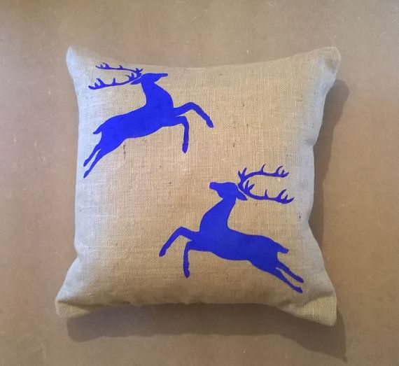 Cushion Covers Christmas Flying Reindeer Design by CowDogDesign