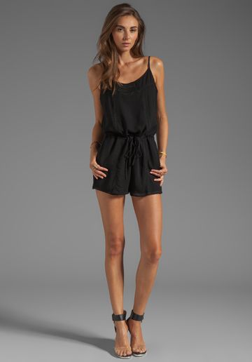 RORY BECA Crowd Draw String Cami Romper in Black - Rompers & Jumpsuits