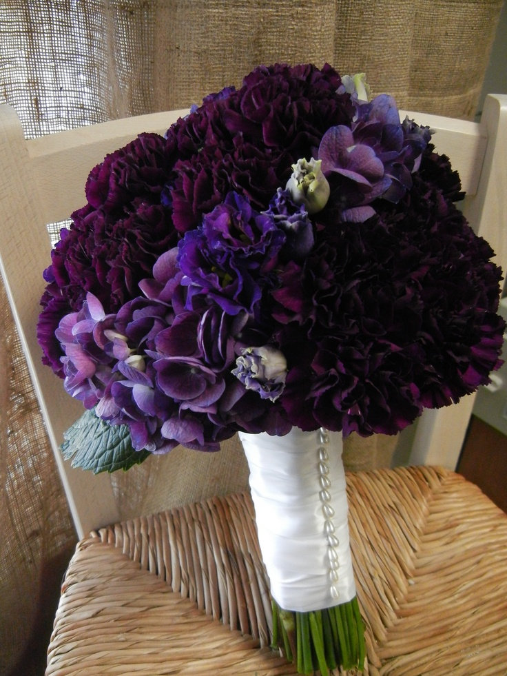 Deep Purple Carnation Hydrangea Bridal Bouquet