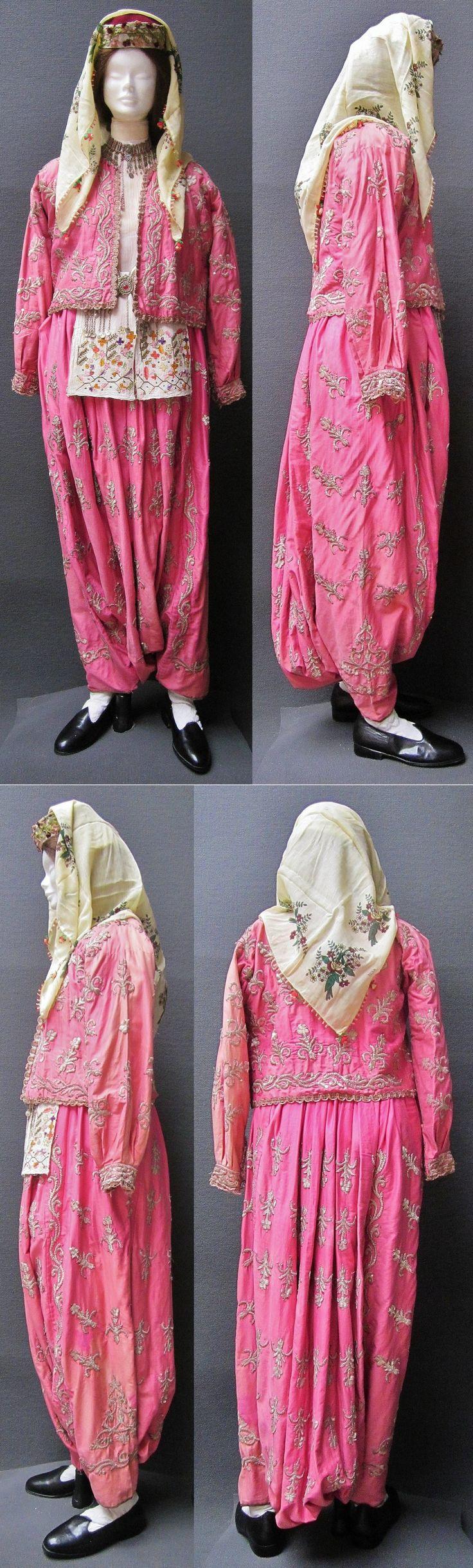 A traditional festive ensemble ('şalvar'/baggy trousers + 'cepken'/long-sleeved vest) from the Muğla region. Late-Ottoman, urban style, circa 1925-1950. Adorned with goldwork embroidery (in 'Maraş işi'-technique) on silk. (Kavak Costume Collection - Antwerpen/Belgium).