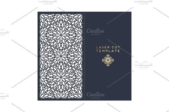 Vector wedding card laser cut template with mandala. Card Design Templates