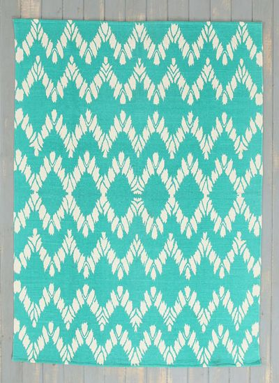 Turquoise Chevron Rug. This Woven Cotton Turquoise Chevron Rug Is Finished  With A Mesmerizing Chevron