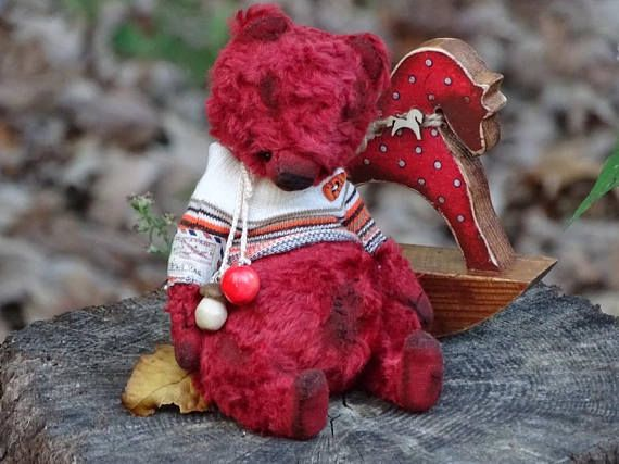 Christmas Red Artist Teddy Bear. Red Vintage Plush Teddy Bear.