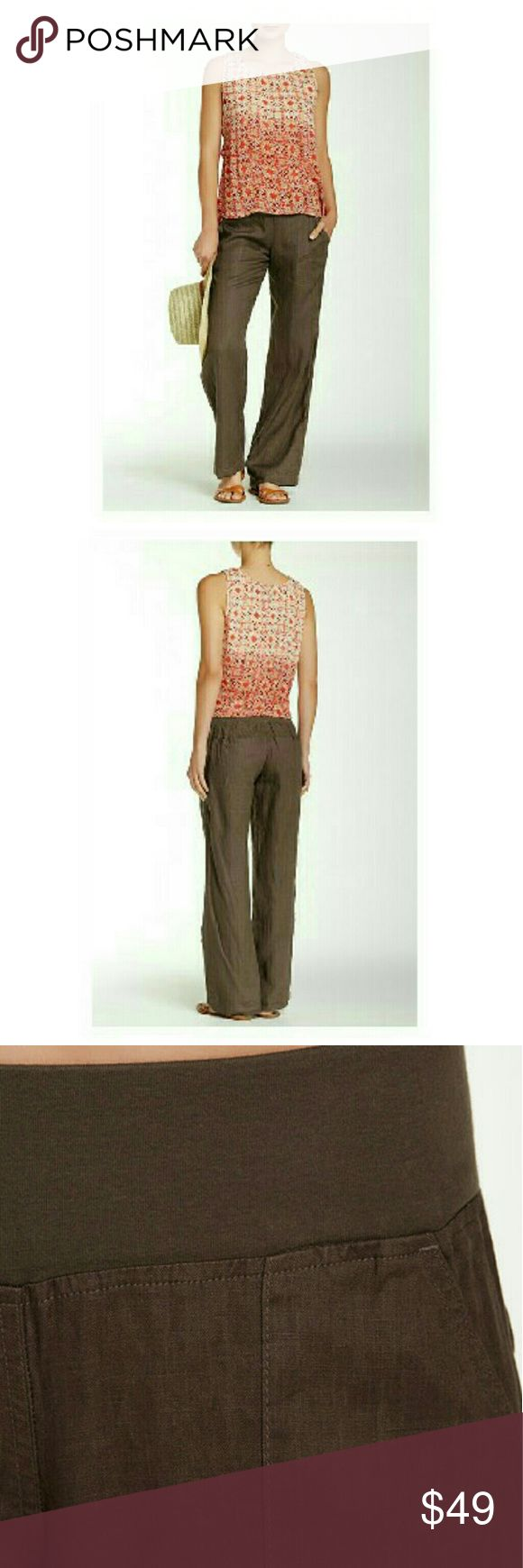 """Lazy Summer Days  II Arriving Wed. February 15th. Lazy Summer Days  Linen Lounge Pants in a rich earthy brown. While away your summer days in comfort and style in these linen lounge pants. Elastic waist, front slant pockets, back welt pockets, approximately 9"""" rise and 31"""" inseam. 100% LINEN color is Mushroom Model has 23.5"""" waist and 35"""" hips and is wearing a small. Pants"""
