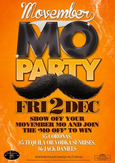 Mo - Movember Party Poster Design by Copirite
