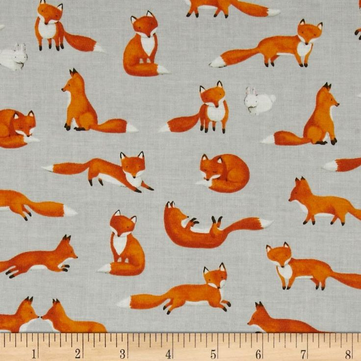 Moda Forest Friends Fox Fun Pebble Grey.  Light weight cotton. Colors include grey, white, black and golden brown.