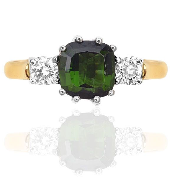 Green Tourmaline & Diamond Trilogy Ring