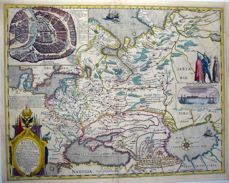 "Map of Russia compiled by Dutch East India Company principal cartographer Hessel Gerritsz (1580-1632) after a manuscript map and other sources provided to him by Isaac Massa (1586-1643), a Dutch merchant and diplomat who lived in Moscow for some time.  Massa wrote that he received a map of northern Russia from an unnamed friend, stating that he ""would not divulge his name because the Russian who communicated the map to me would have incurred capital punishment if the matter had become…"