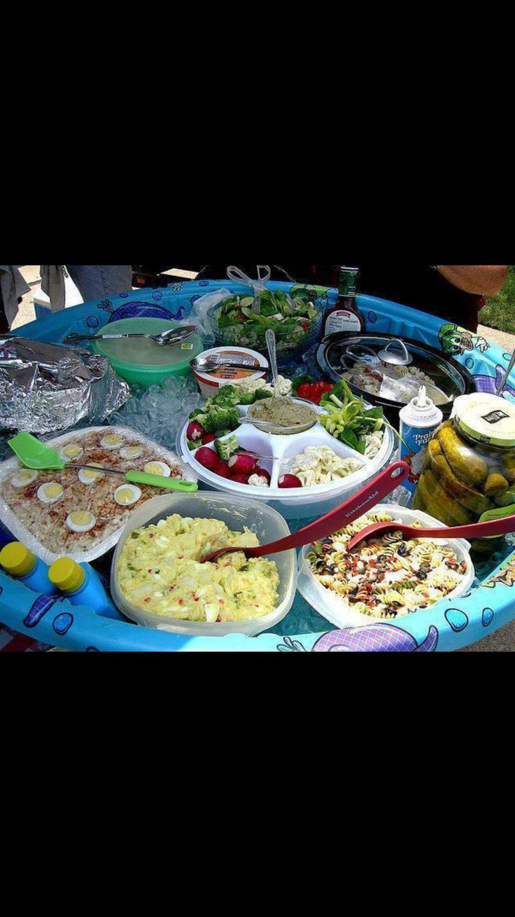 Kiddie pool filled with ice placed on table...fill with all your salads & perishable outdoor dishes. Genius!