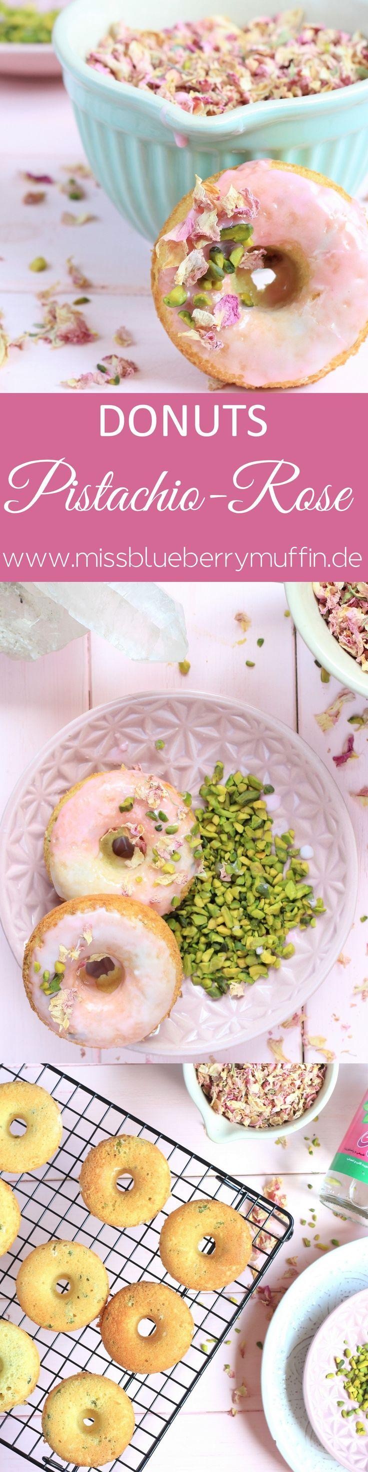 Orientalische Pistazien-Rosen-Donuts aus dem Backofen // Baked pistachio rose donuts <3