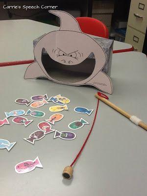 Actividad para trabajar la conciencia fonológica, el tiburón se comerá aquellos peces que posean el sonido /sílaba/ palabras...