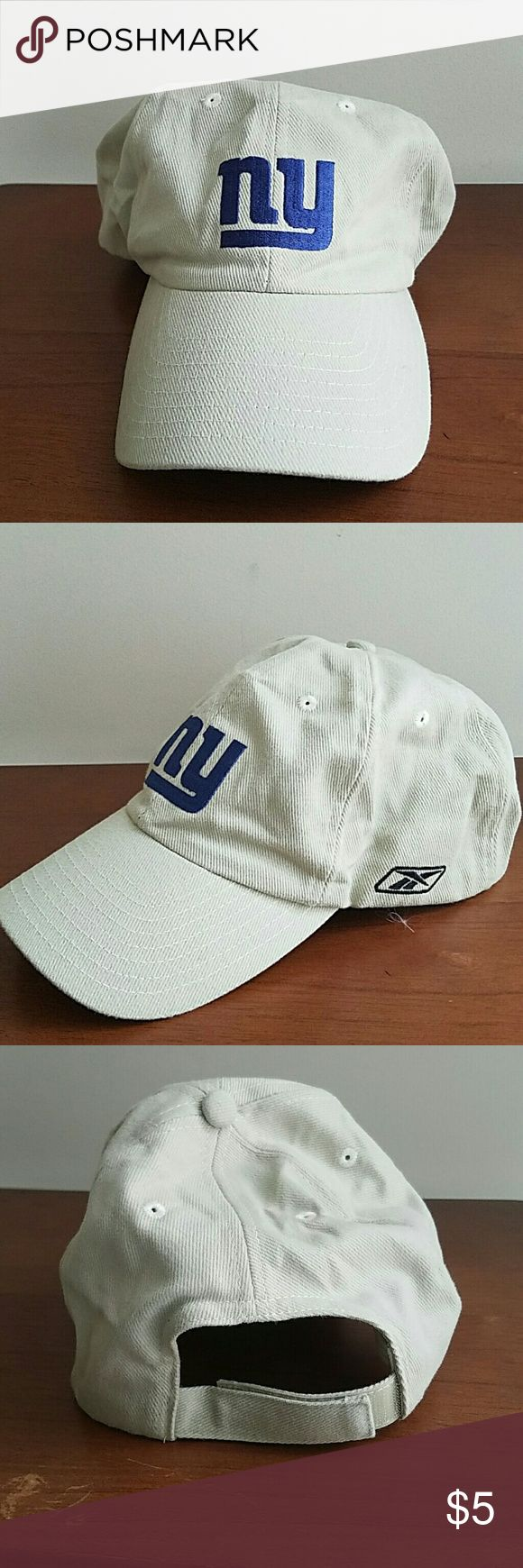 NY Giants football cap New, never worn.  Probably 5 + yrs old.  Cream colored.  65% Poly 35% Cotton Accessories Hats