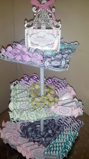 Colourful toffee display
