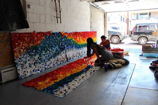 "[In Progress]   ""When the Beach Met the Bay"" Created by Lisa Be.  Sponsored by Project Vortex. Approx. 440 sq. ft. Approx. 25,000 plastic caps, galvanized sheet metal, rivets Long Beach, NY      #plastic #bottle #caps #recycled #mural #publicart #streetart #upcycled #eco"
