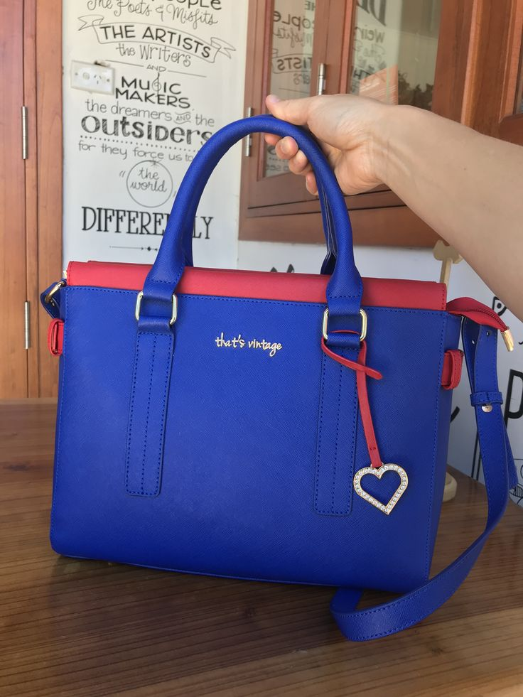 Royal blue and red Handbag from that's vintage