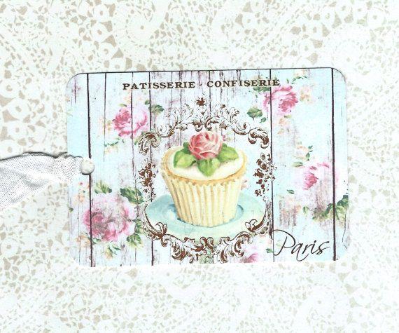 Tags, Franse bakkerij stijltags, Cupcake Tags