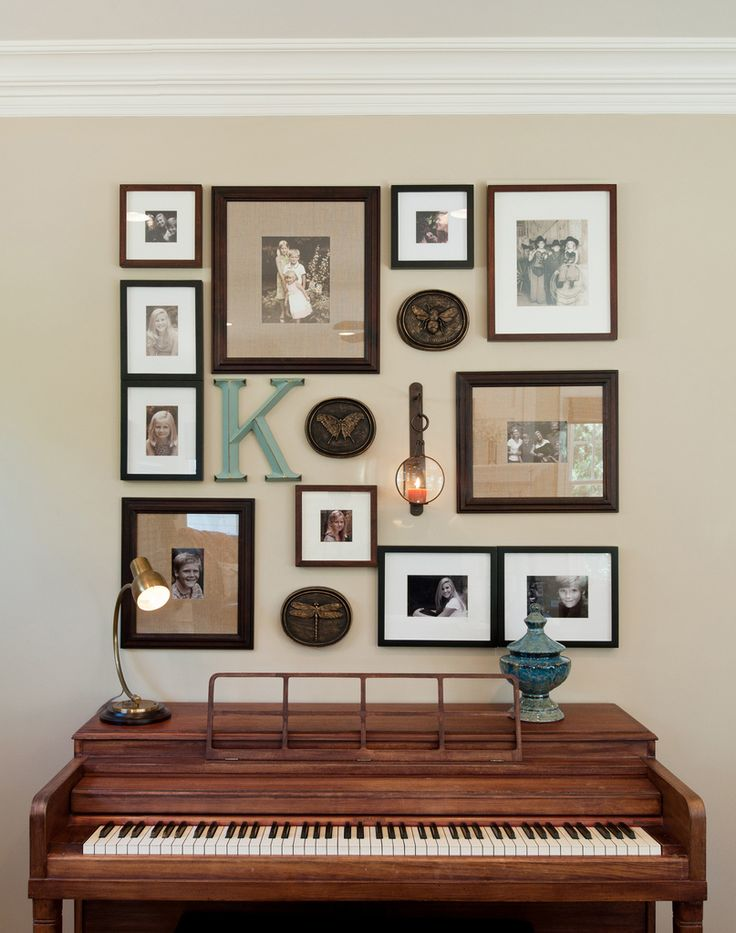 Family photo art display, gallery wall, piano display, collage of family photos