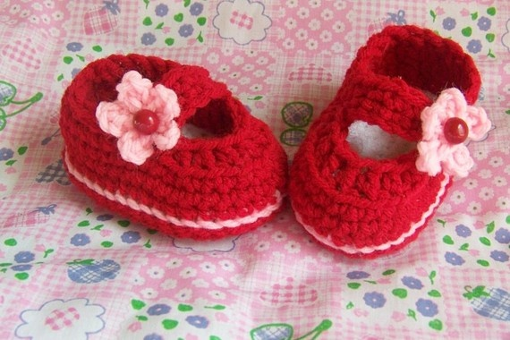 Baby Booties Mary Janes Flower Trimed Shoes by conniemariepfost, $25.00