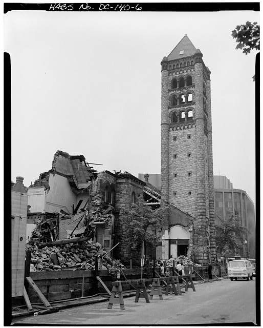 Demolition of the Church of the Covenant, Washington DC. It was torn down in 1966 and replaced by an office building. Construction of the main church began in 1887 and was nearly complete when the 158-foot Ohio-sandstone tower suddenly collapsed into a heap of rubble early on the morning of August 22, 1888.