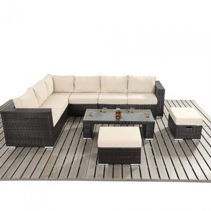 9PC Rattan Sofa and Stool Dining Set - Luxury Leather Beds - Beds.co.uk - The Bed Outlet