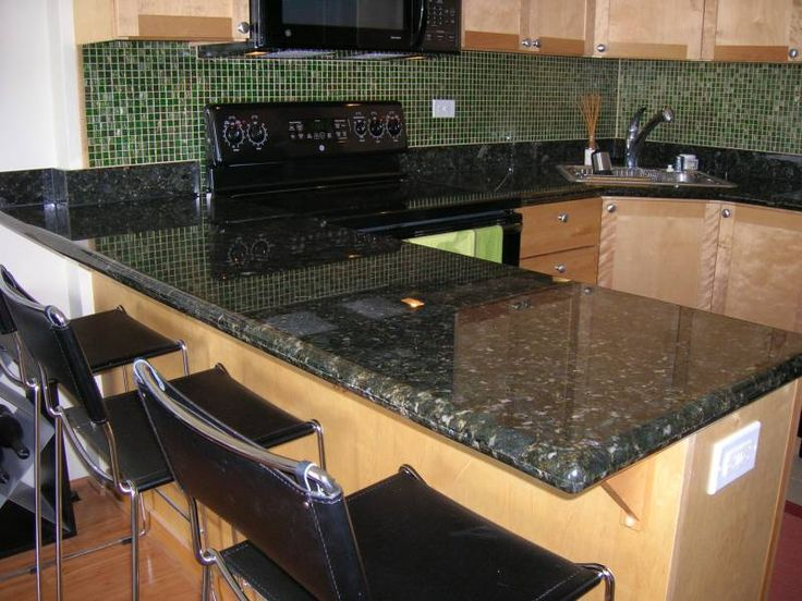 Shimmerfly Kitchen Backsplash with Black Granite Counter ...