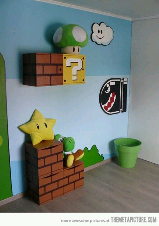 i want a mario room in my house gaming animes d co pinterest salles de jeux deco. Black Bedroom Furniture Sets. Home Design Ideas