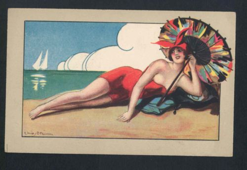 RARE-CHIOSTRI-BATHING-BEAUTY-POSES-ON-BEACH-PAPER-PARASOL-ART-DECO-POSTCARD