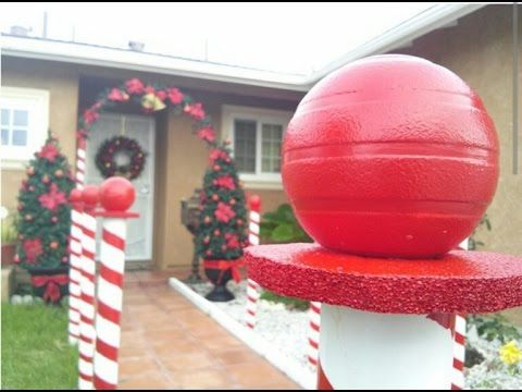 DIY Christmas home Decoration - Candy Cane Lane, patio christmas Trees - YouTube