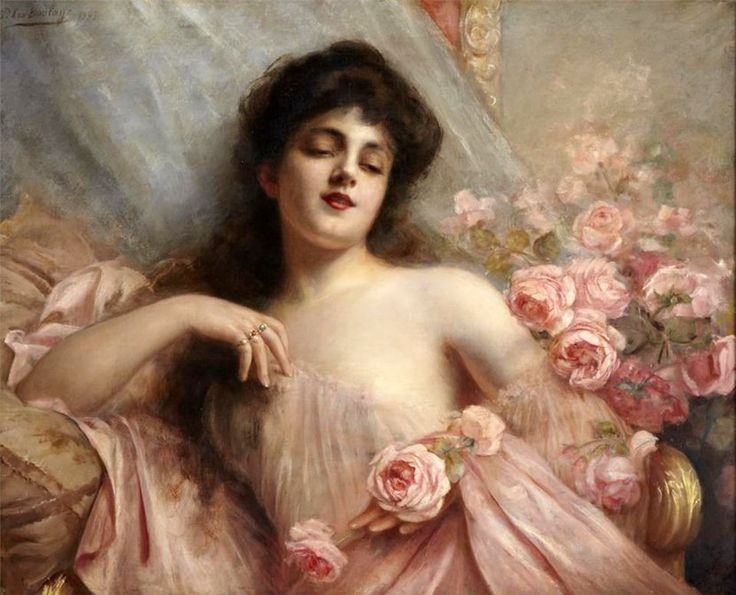 Paul Antoine de la Boulaye (French, 1849–1926) -  Belle Epoque beauty reclining on a settee with roses , 1907