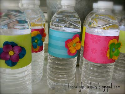 Decorate bottled water to match your party or shower.  Super easy to do!