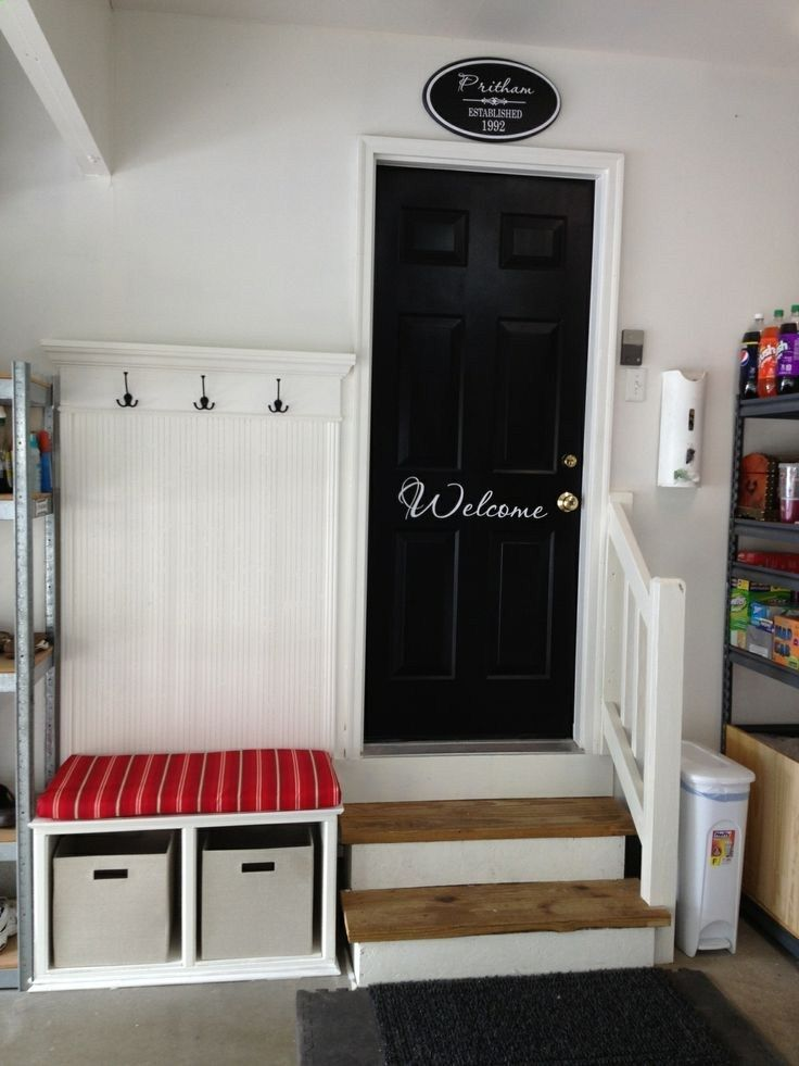 For garage entry which is usually an otherwise very boring or messy entry. I think I will paint the door a great color and have welcome on it. Love this. - poshhome.info