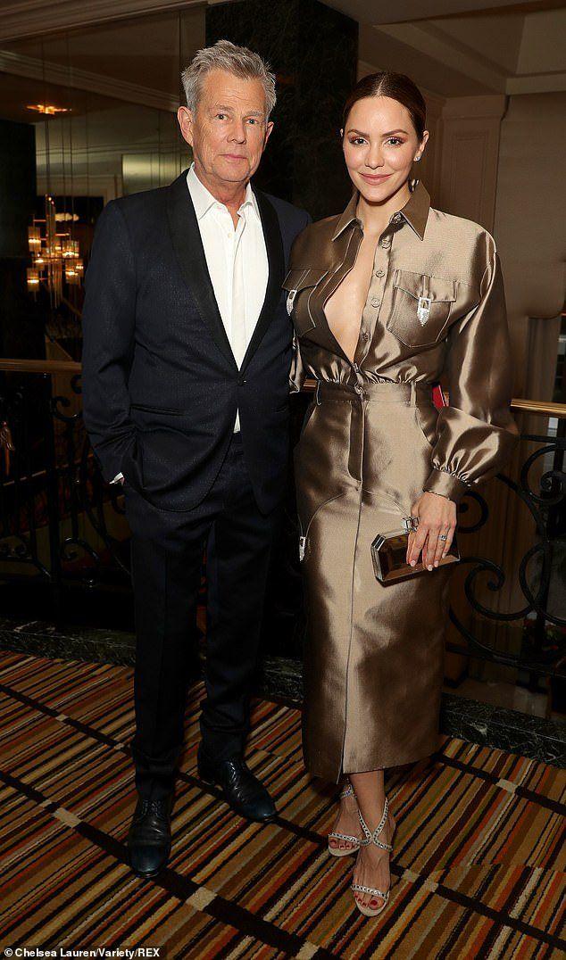 Katharine Mcphee 35 Goes Bra Less In Unbuttoned Blouse At Beverly Hills Gala With David Fo Blue Sleeveless Dress American Idol Contestants Flirty Black Dress