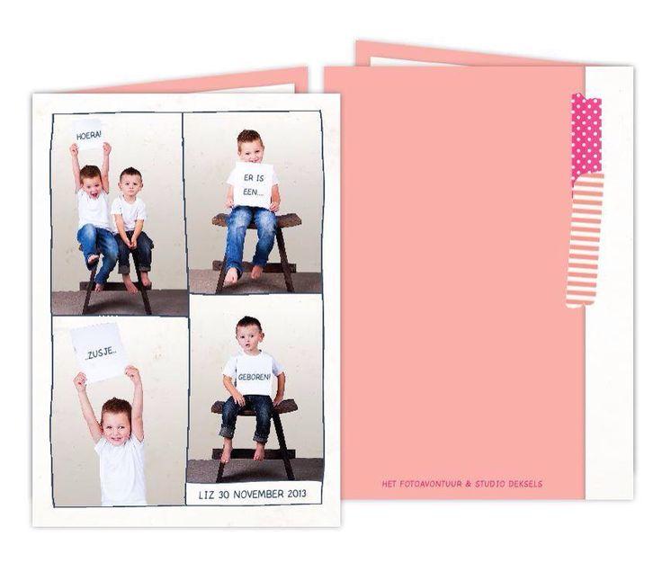 Studio Deksels - KAARTopMAAT - geboortekaartje - stoer - masking tape - strip - foto's - broers