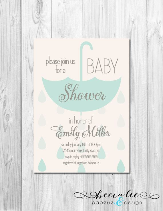 Hanging Umbrella Baby Shower Invitation - Faded Raindrops - Blue and Grey - DIY - Printable on Etsy, $14.00