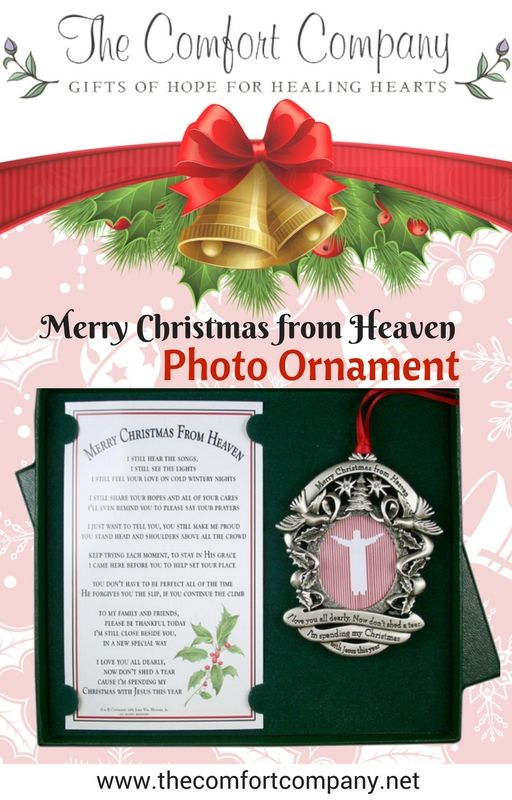 A holiday favorite and touching remembrance of a loved one this holiday season.  Our Merry Christmas from Heaven ornament holds a photo of a loved one. #merrychristmasfromheaven