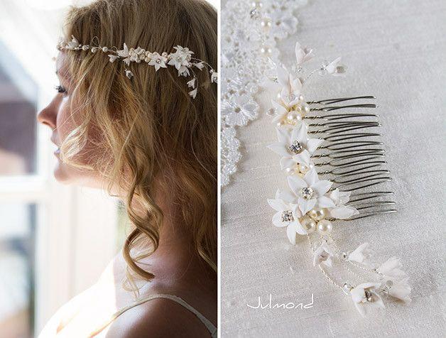 Braut+Tiara+Hochzeit+Haarkamm+Perlen+Diadem+von+Julmond+auf+DaWanda.com