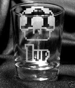 1up Mushroom Etched Shot Glass