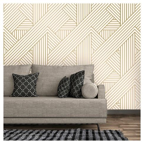 Ribbon Peel And Stick Wallpaper Gold Ivory Project 62