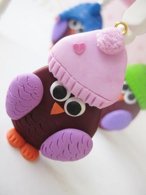 Owl Necklace with Colorful Hats _ Polymer Clay _ Owl Collection by MarisAlley on Etsy