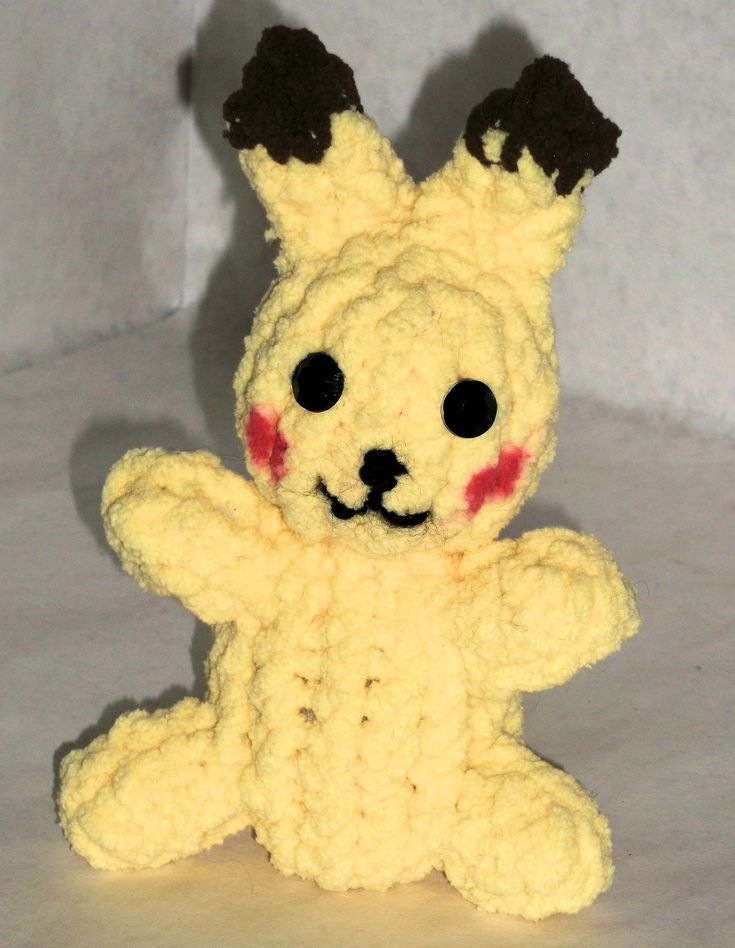 Knitted Pikachu Pattern : How to Loom Knit a Pikachu Pikachu, Knits and Loom