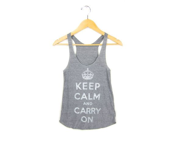 Keep Calm and Carry On Racerback Hand Stenciled by twostringjane, $28.00