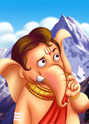 """Thinking little Ganesha, """"How to get the wisdom fruit?""""  :)"""
