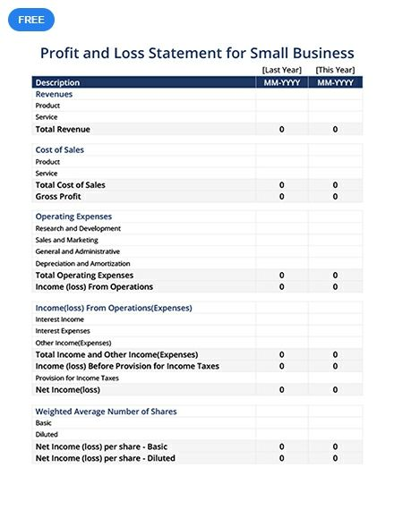 free profit and loss statement for small business sheet templates