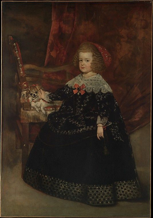 Juan Bautista Martínez del Mazo (Spanish, ca. 1612–1667). María Teresa (1638–1683), Infanta of Spain, ca. 1645. The Metropolitan Museum of Art, New York. Mazo was Velázquez's most gifted assistant and his son-in-law, having married his daughter Francisca in 1633. María Teresa, daughter of King Philip IV of Spain and his first queen, Isabel de Borbón, was portrayed by Mazo when she was seven years old. #dogs