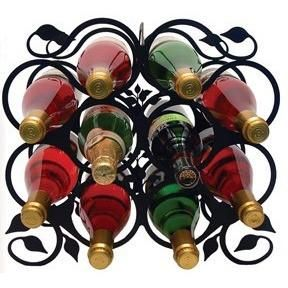 Perfect for the true wine afficianado, this large wine rack has delicat leaf styling and holds 10 bottles of your favorite wines. Black powder coated wrought iron makes this both sturdy and functional.  Holds 10 Bottles 14 1/2 In. W x 13 1/2 In. H x 7 In. D. 6 lbs