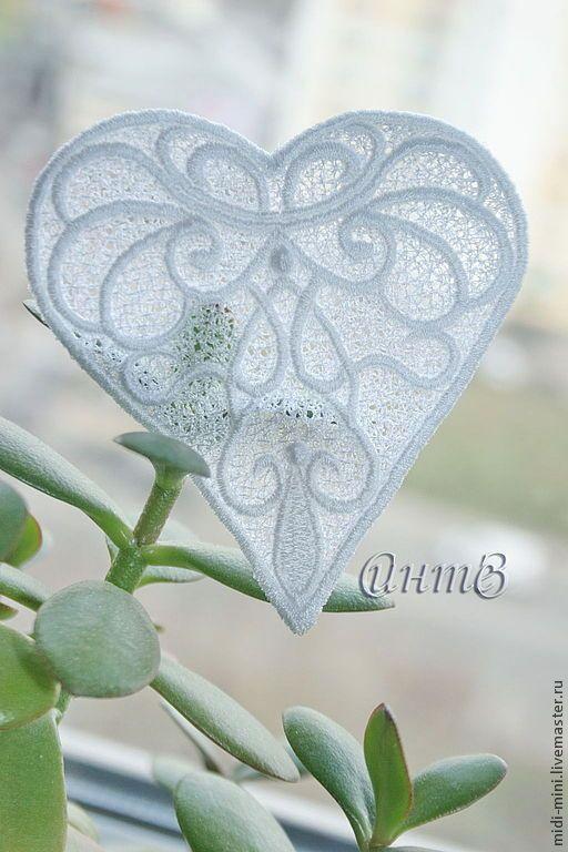 Купить вышивка, кружево, аппликация ажурная, кружевное сердце - белый свадебный, аппликация для скрапа