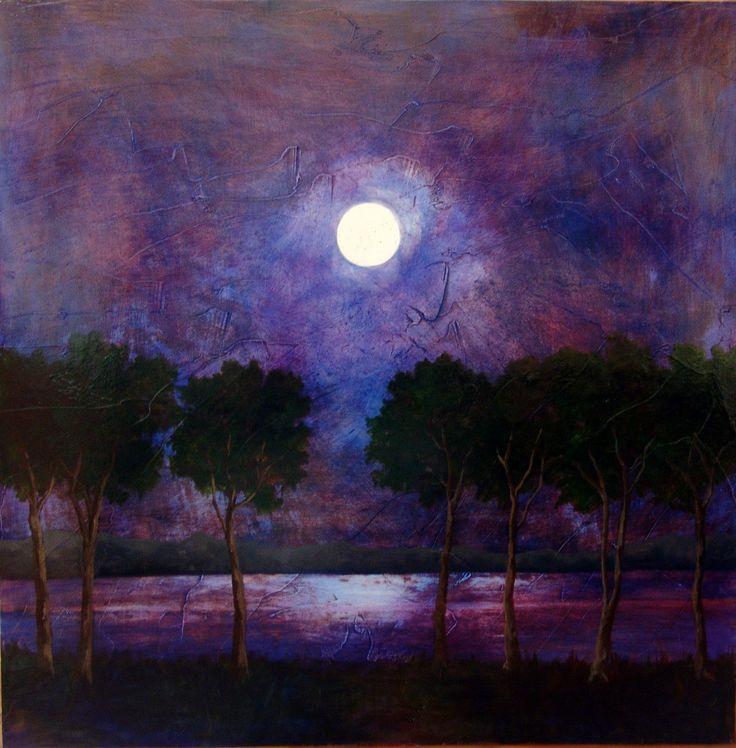 Purple Blue Night Sky Moon Original Oil Painting On By